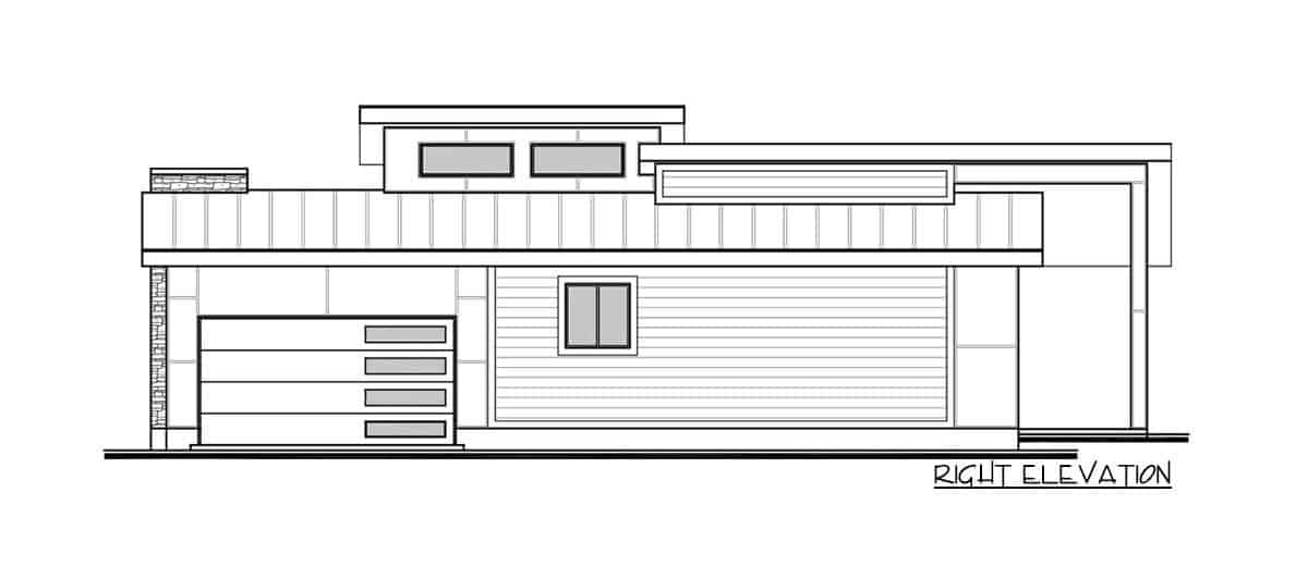 Right elevation sketch of the 3-bedroom single-story modern Northwest home.