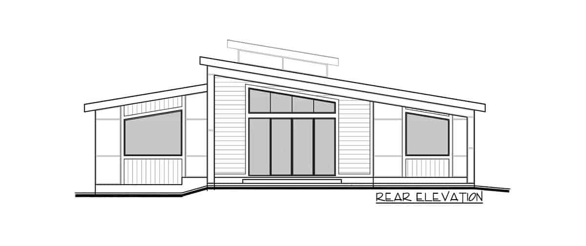 Rear elevation sketch of the 3-bedroom single-story modern Northwest home.