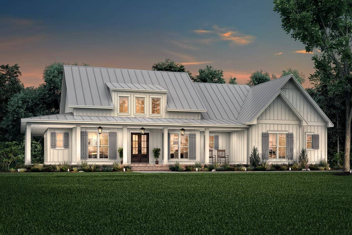 Front rendering of the 3-bedroom two-story modern farmhouse.