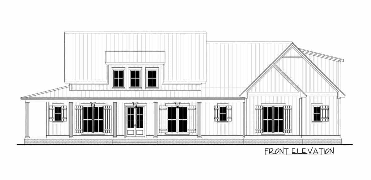 Front elevation sketch of the 3-bedroom two-story modern farmhouse.