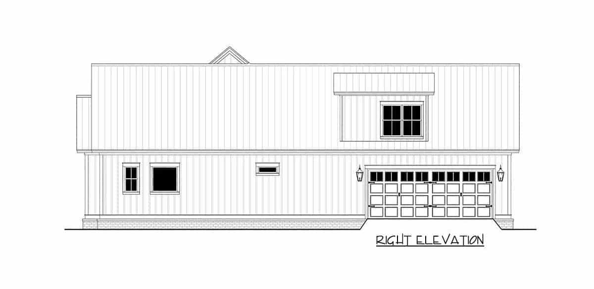 Right elevation sketch of the 3-bedroom two-story modern farmhouse.