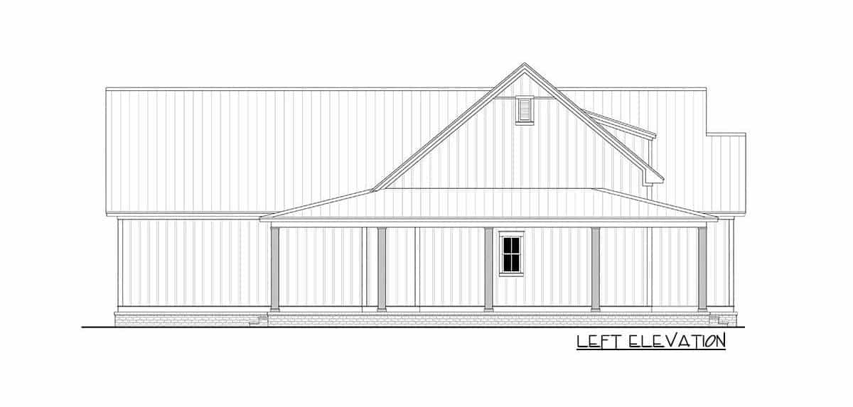 Left elevation sketch of the 3-bedroom two-story modern farmhouse.