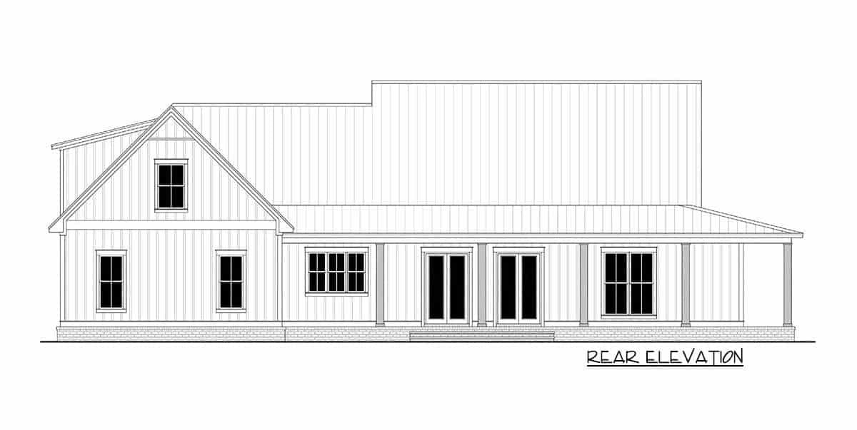 Rear elevation sketch of the 3-bedroom two-story modern farmhouse.