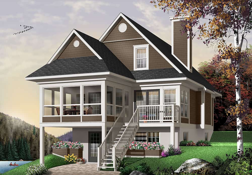Front rendering of the 3-bedroom two-story The Cliffside 4 country home.