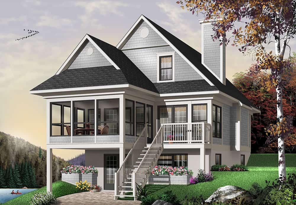 Front rendering of the 3-bedroom two-story The Cliffside 4 country home with gray alternate exterior.