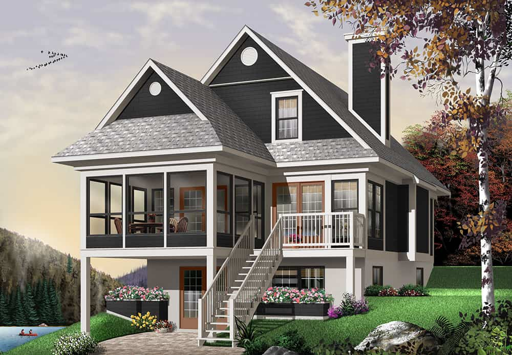Front rendering of the 3-bedroom two-story The Cliffside 4 country home with charcoal alternate exterior.