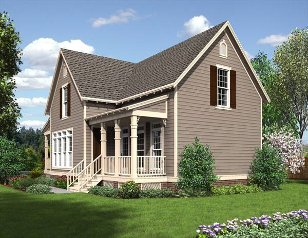 Rear rendering of the 3-bedroom two-story The Jefferson cottage.