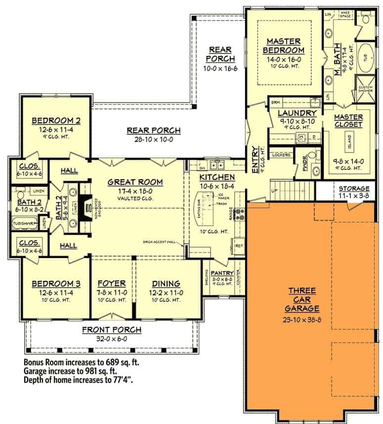 Main level floor plan with a 3-car garage option.