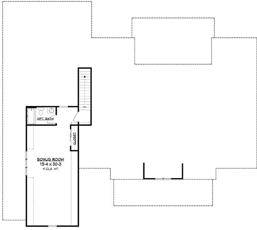 Bonus room floor plan with a full bath and closet.