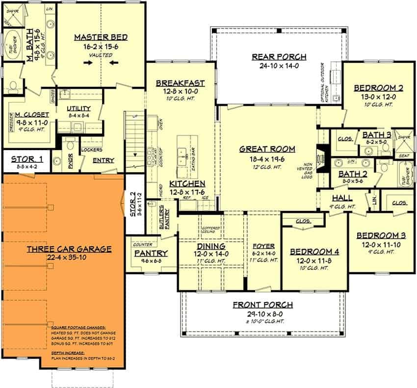 Main level floor plan with a 3-car side-entry garage option.