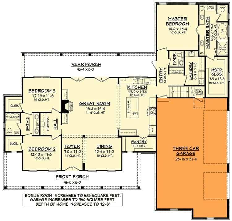 Main level floor plan showing the 2-car front garage option.
