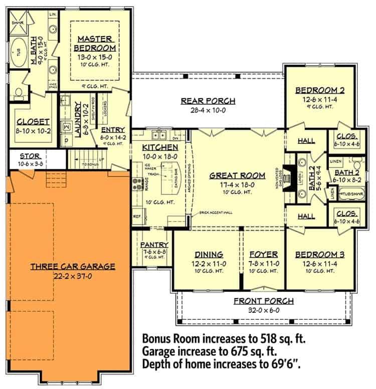 Main level floor plan with 3-car garage side option.