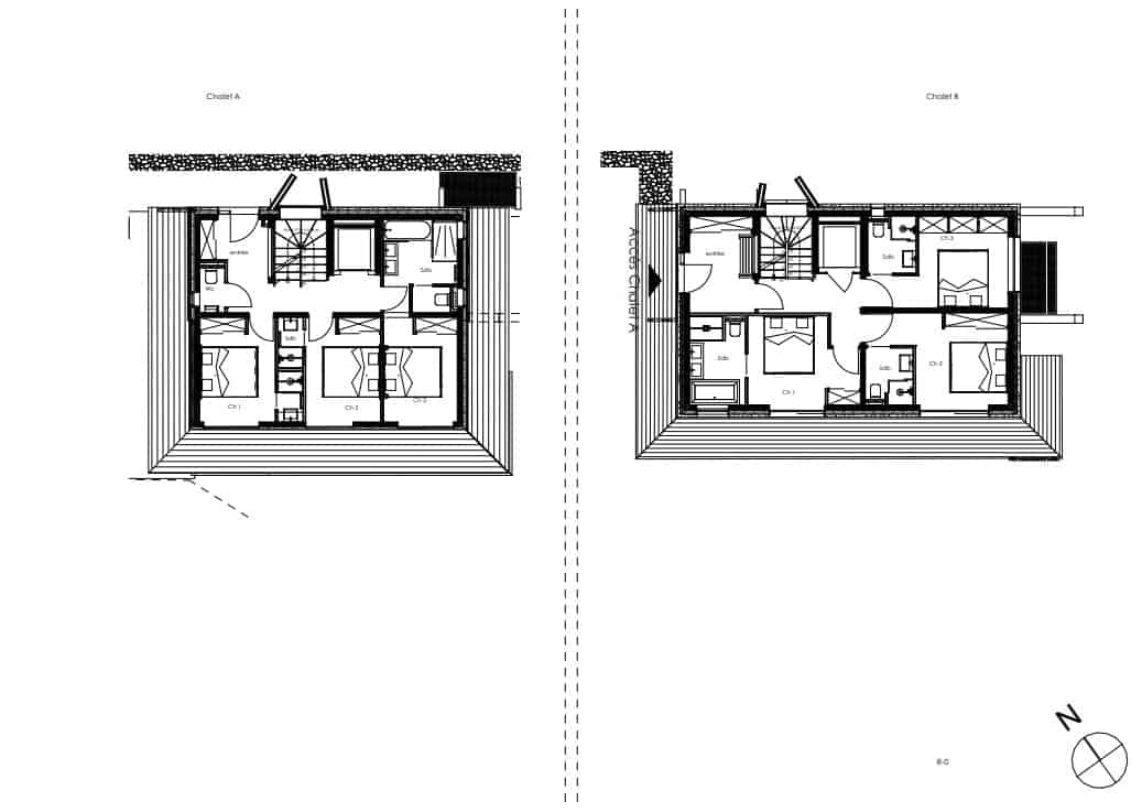 This showcases the illustration of the ground level floor plan for the two structures of the property.