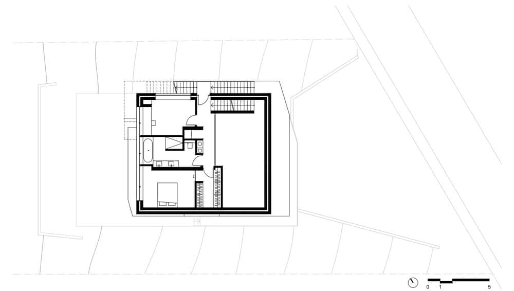 This is an illustration of the third level floor plan and its sections.