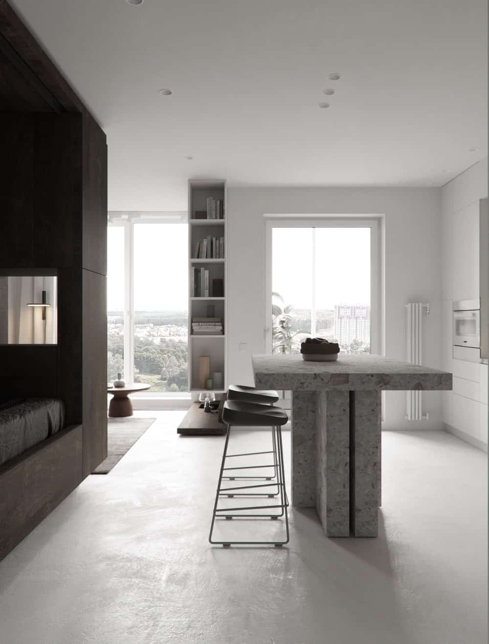 The bright tones are complemented by the natural lights coming in from the large window on the far side.