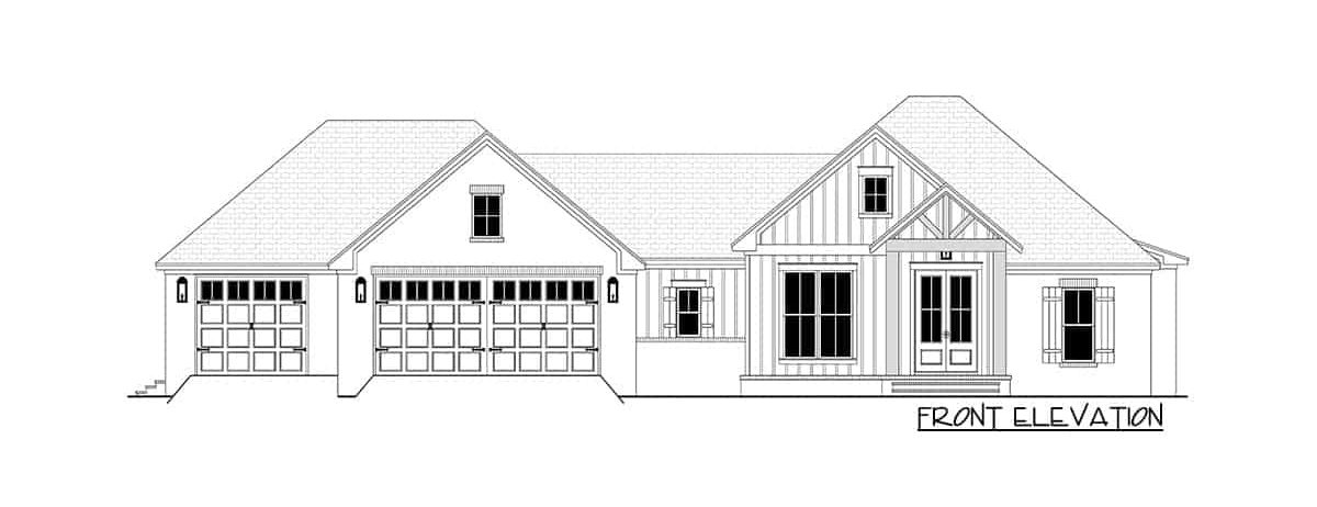 Front elevation sketch of the 4-bedroom single-story contemporary craftsman home.
