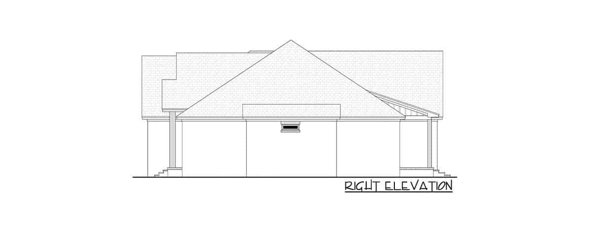 Right elevation sketch of the 4-bedroom single-story contemporary craftsman home.