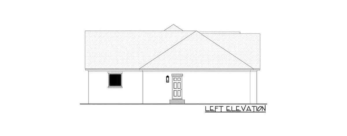 Left elevation sketch of the 4-bedroom single-story contemporary craftsman home.
