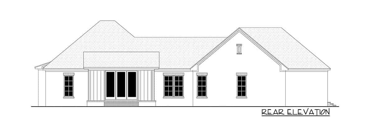 Rear elevation sketch of the 4-bedroom single-story contemporary craftsman home.