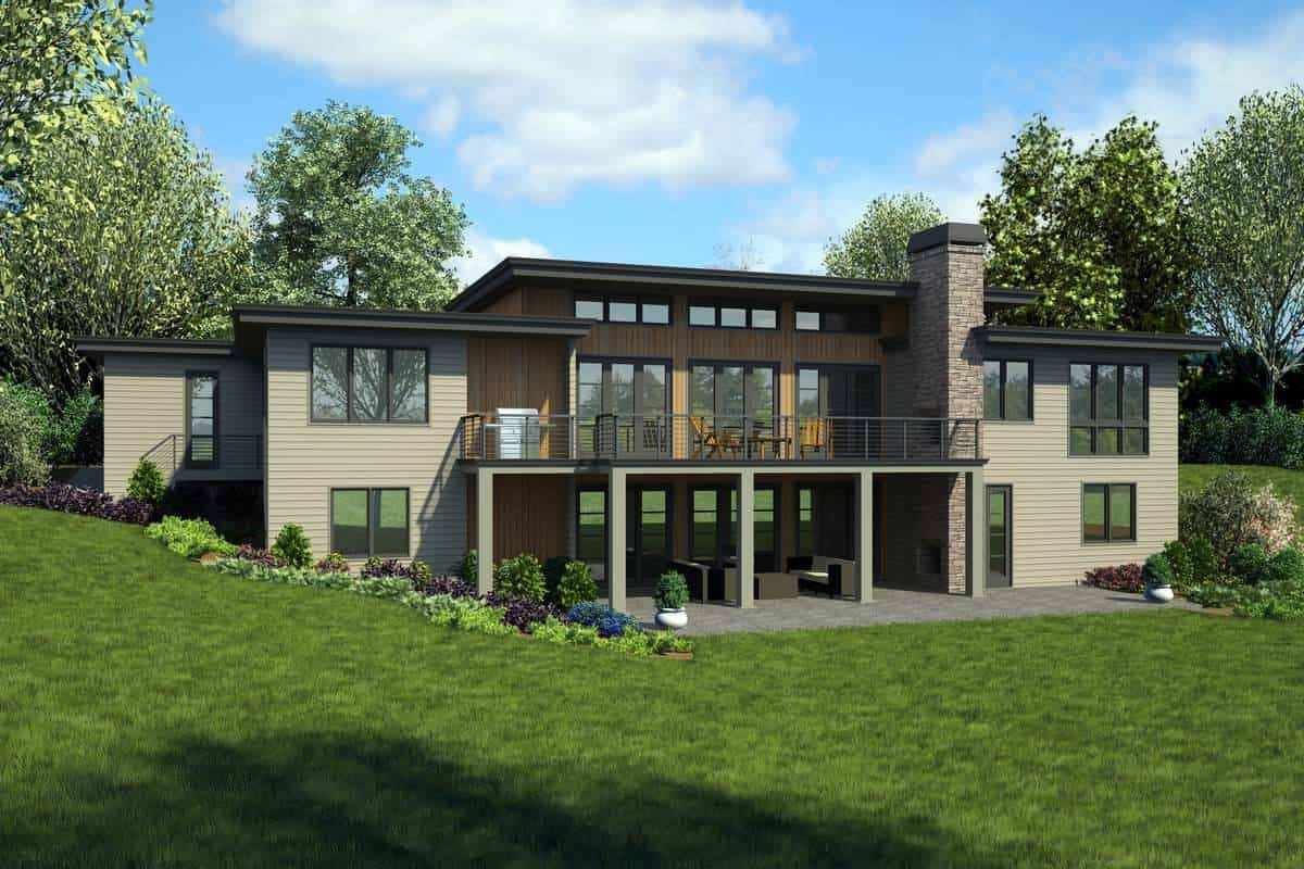 Rear rendering of the 4-bedroom single-story Maricopa contemporary home.