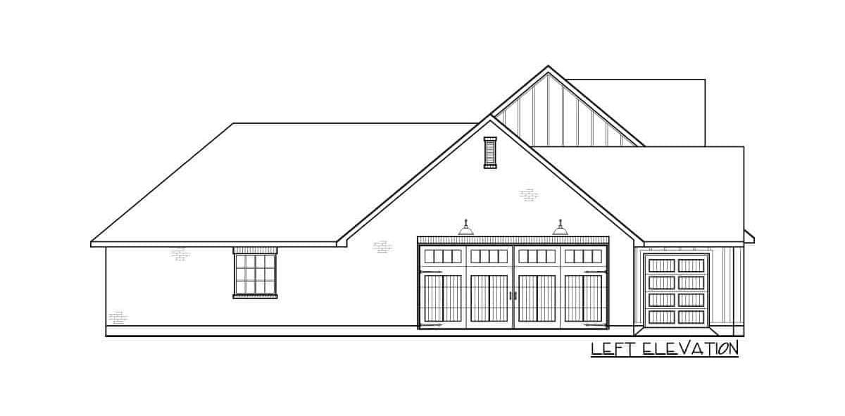Left elevation sketch of the 4-bedroom single-story modern farmhouse.