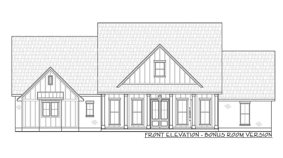 Front elevation bonus room version sketch of the 4-bedroom single-story modern farmhouse.
