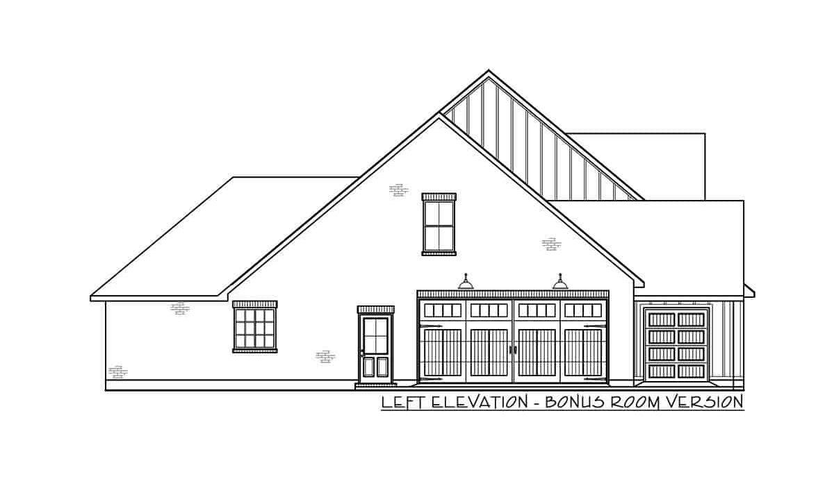 Left elevation bonus room version sketch of the 4-bedroom single-story modern farmhouse.
