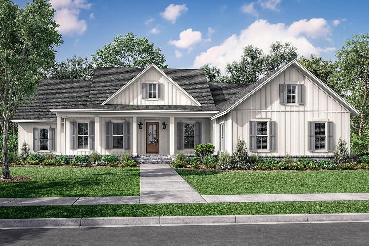 Front rendering of the 4-bedroom single-story modern farmhouse.