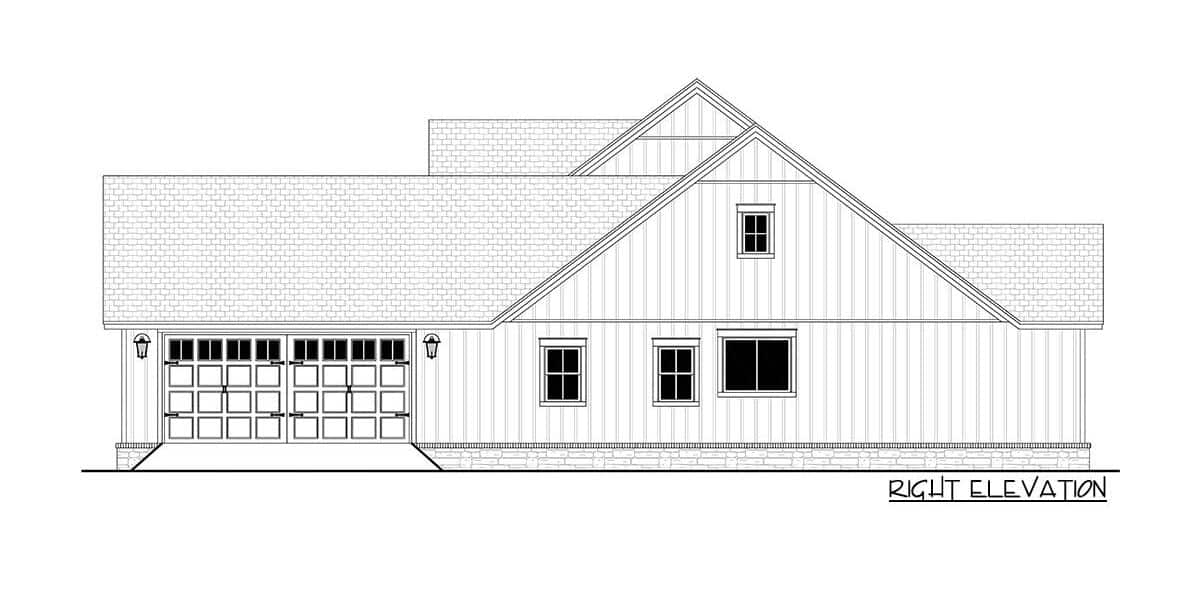 Right elevation sketch of the 4-bedroom single-story modern farmhouse.