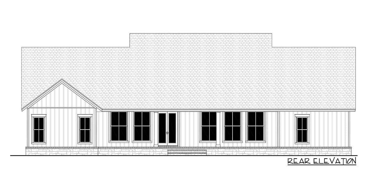 Rear elevation sketch of the 4-bedroom single-story modern farmhouse.