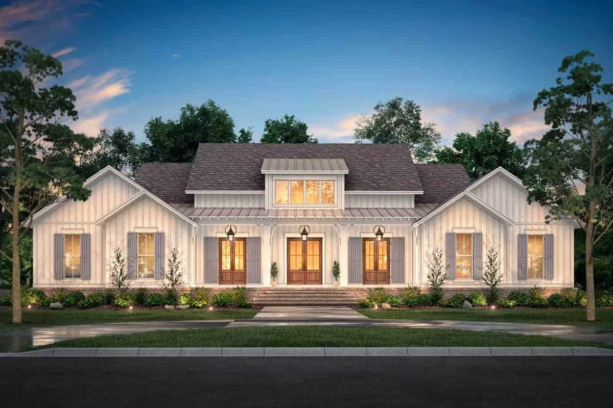 4-Bedroom Single-Story Modern Farmhouse with Wraparound Porch and Vaulted Primary Suite