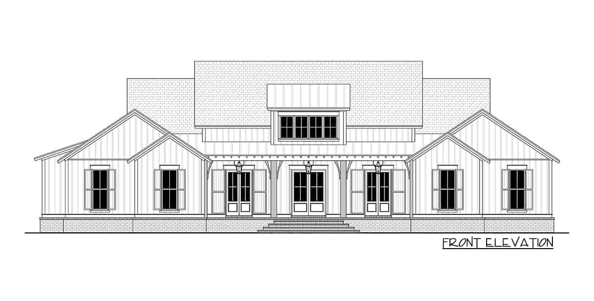 Front elevation sketch of the 4-bedroom single-story modern farmhouse.