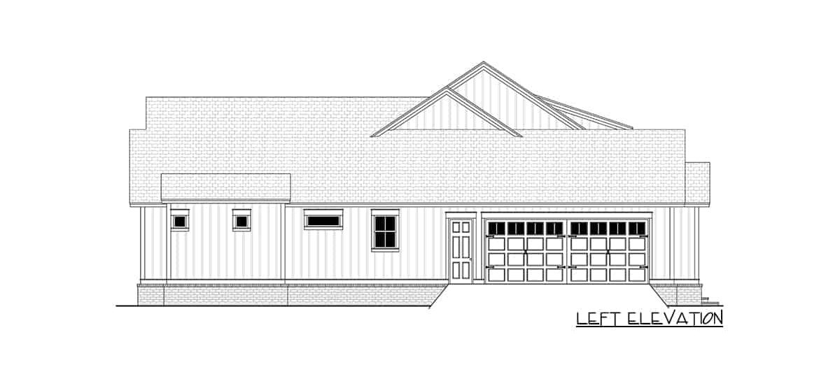 Left elevation sketch of the 4-bedroom single-story modern farmhouse.