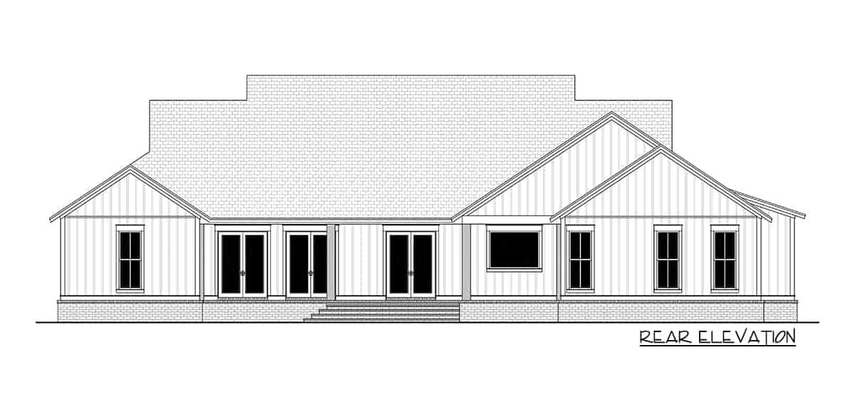 Rear elevation sketch of the 4-bedroom single-story modern farmhouse.