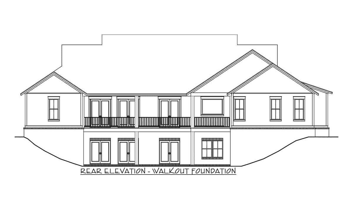 Rear-walkout elevation sketch of the 4-bedroom single-story modern farmhouse.