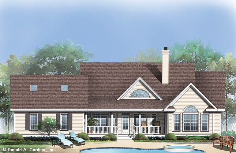 Rear perspective sketch of the 4-bedroom single-story The Wisteria traditional home.