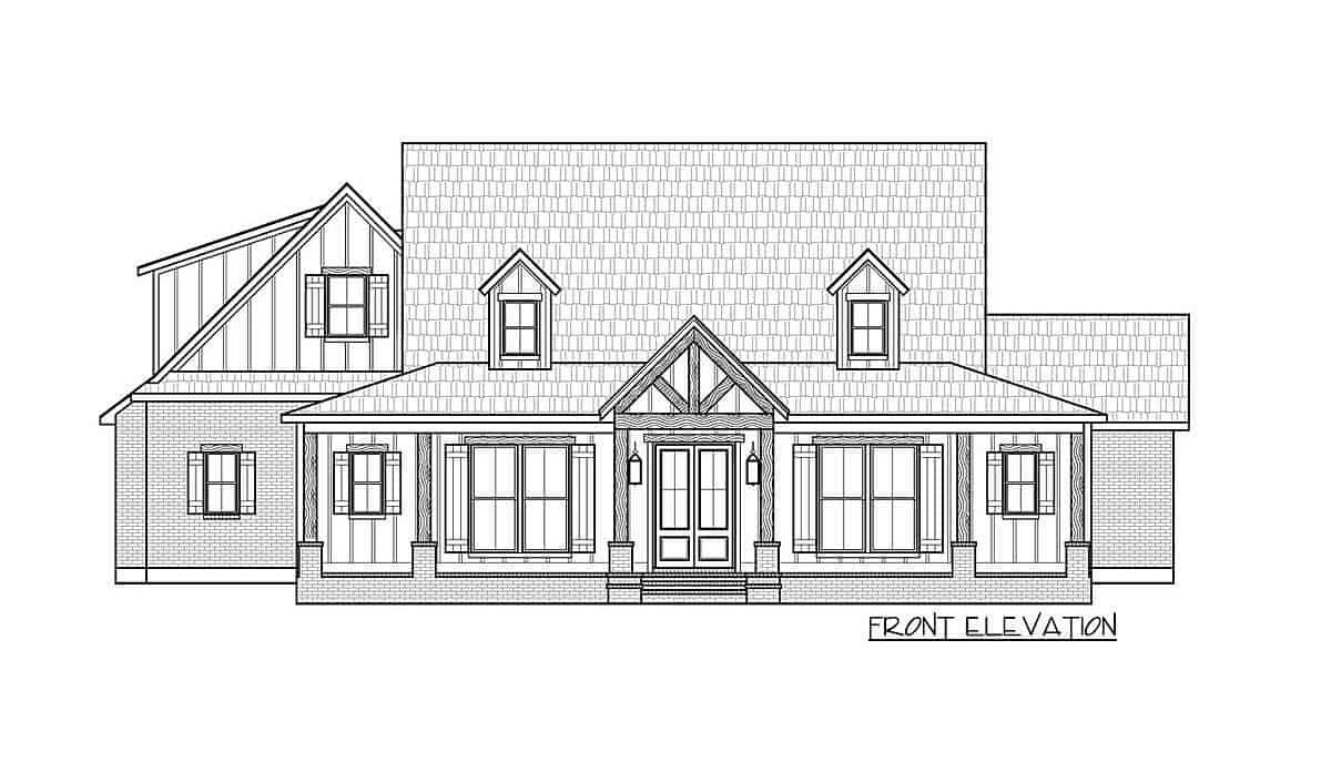 Front elevation sketch of the 4-bedroom two-story country farmhouse.