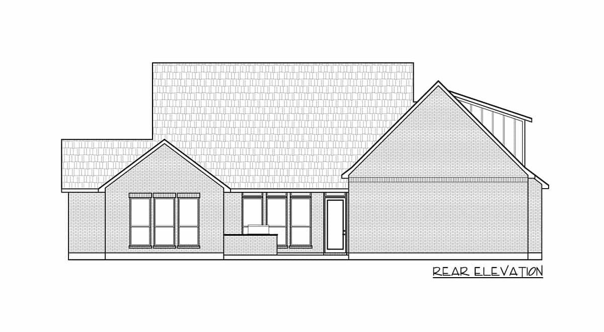 Rear elevation sketch of the 4-bedroom two-story country farmhouse.
