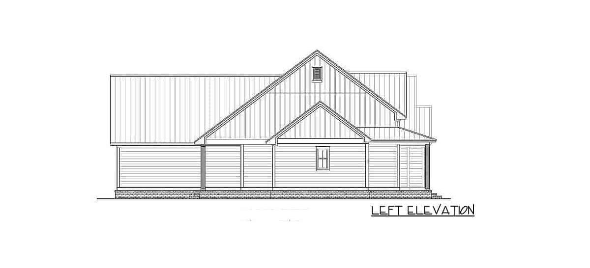 Left elevation sketch of the 4-bedroom two-story farmhouse.