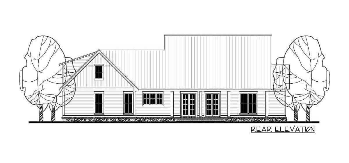 Rear elevation sketch of the 4-bedroom two-story farmhouse.