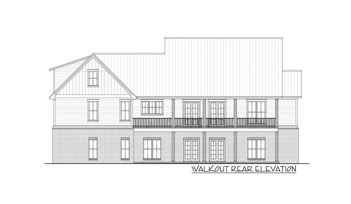 Rear walkout elevation sketch of the 4-bedroom two-story farmhouse.