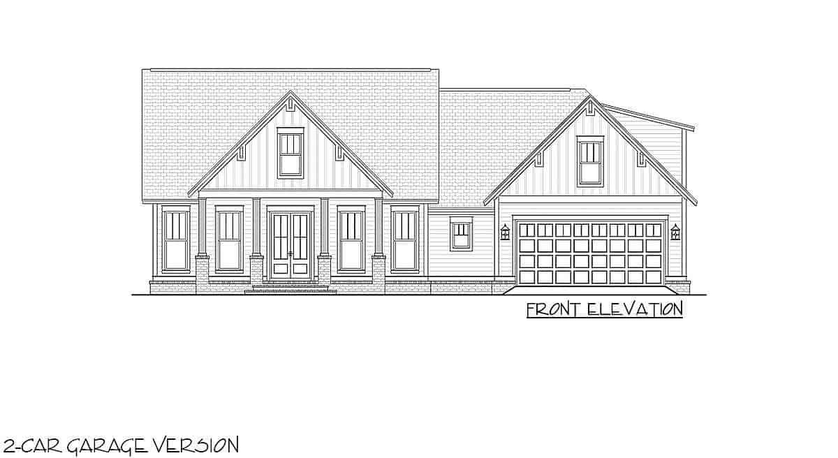 Front elevation sketch of the 4-bedroom two-story farmhouse.