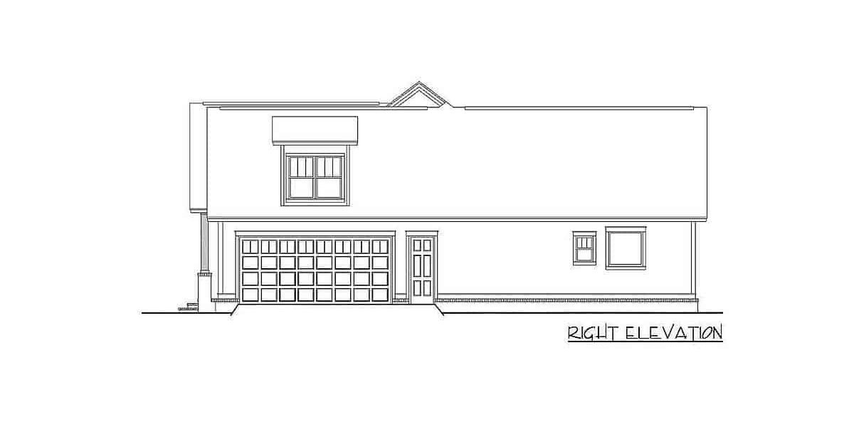 Right elevation sketch of the 4-bedroom two-story farmhouse.
