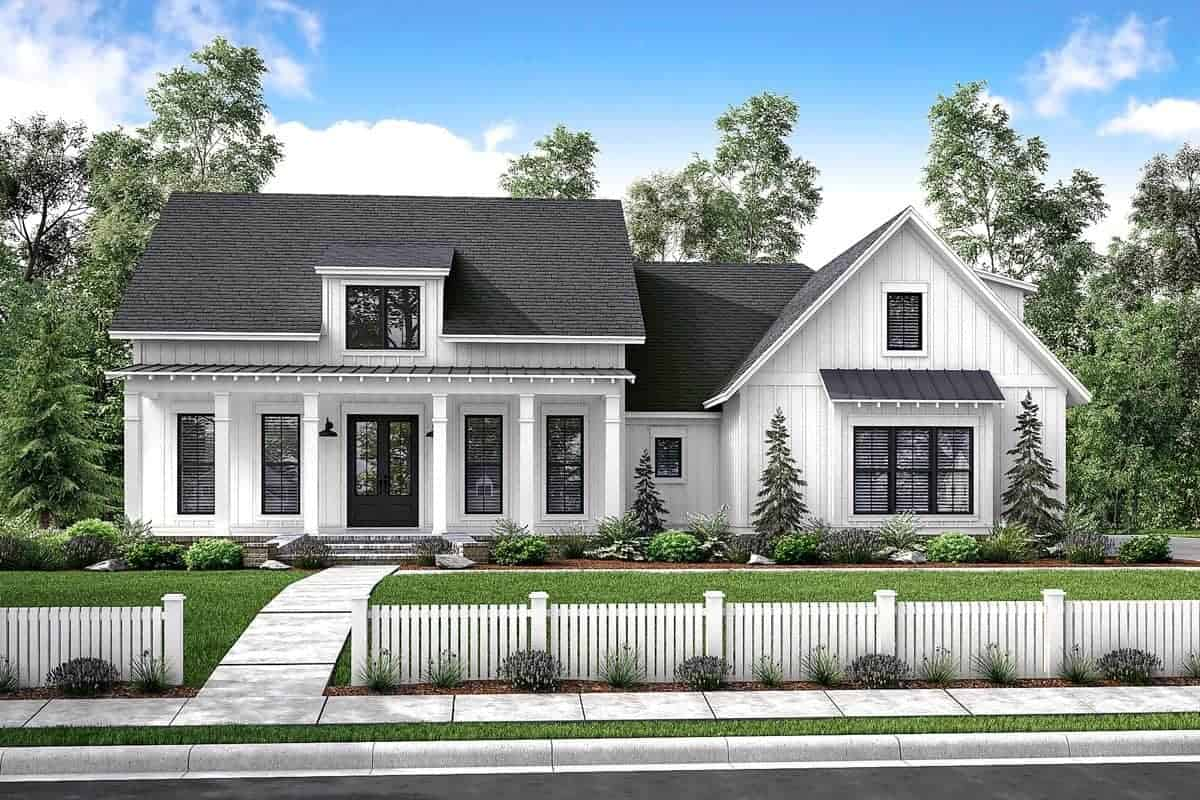 4-Bedroom Two-Story Mid-Size Exclusive Modern Farmhouse with Wraparound Porch