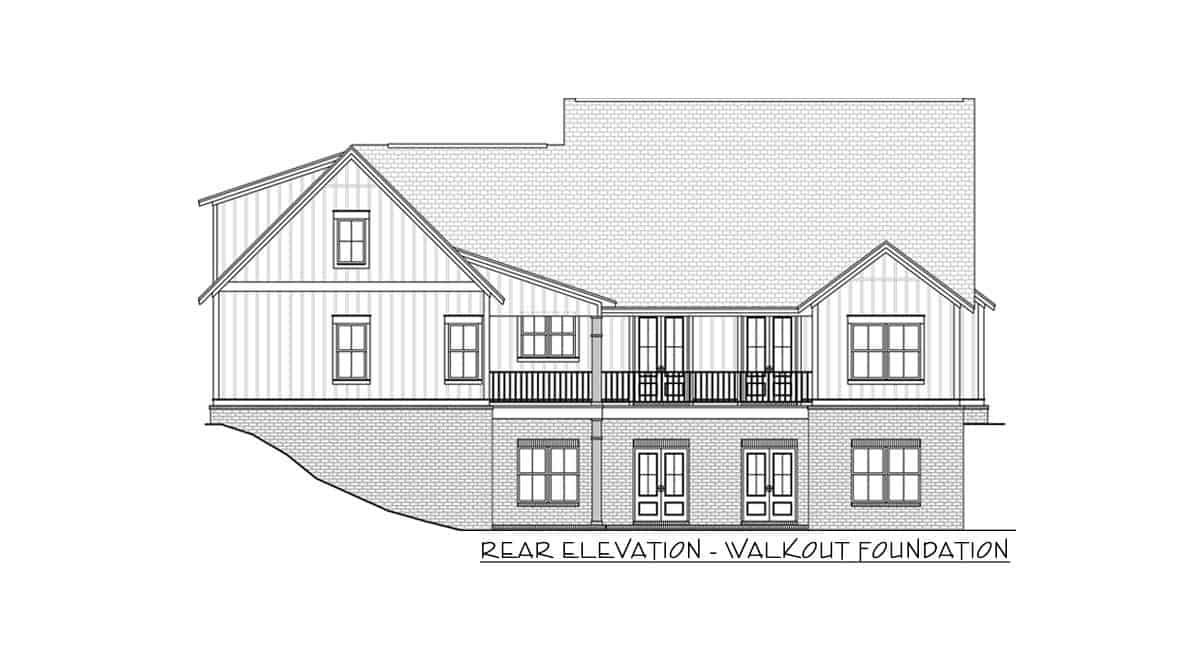 Rear elevation walkout sketch of the 4-bedroom two-story mid-size modern farmhouse.