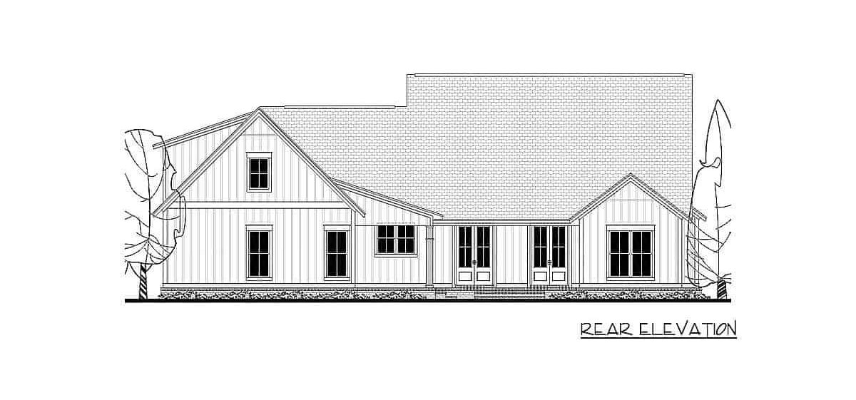 Rear elevation sketch of the 4-bedroom two-story mid-size modern farmhouse.