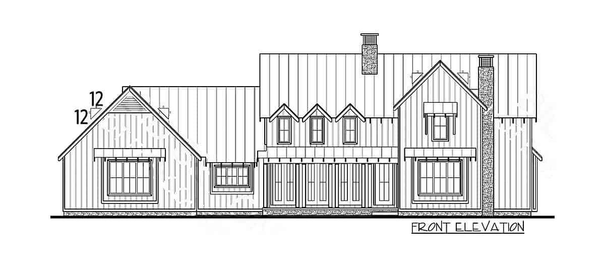 Front elevation sketch of the 4-bedroom two-story modern farmhouse.