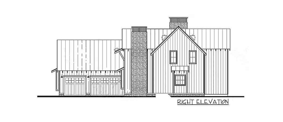 Right elevation sketch of the 4-bedroom two-story modern farmhouse.