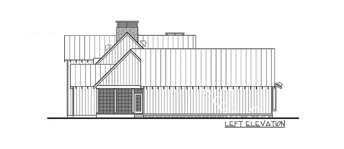 Left elevation sketch of the 4-bedroom two-story modern farmhouse.