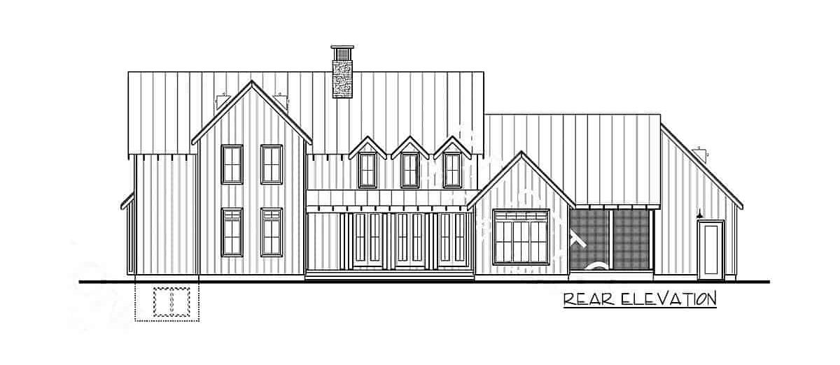 Rear elevation sketch of the 4-bedroom two-story modern farmhouse.